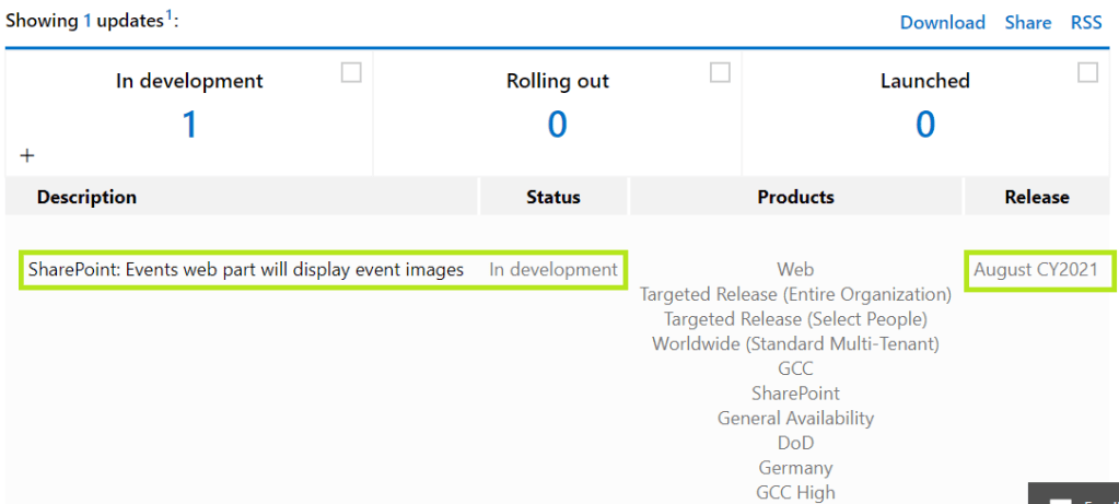 M365 - SharePoint online - Roadmap - SharePoint:Events web part will display event images