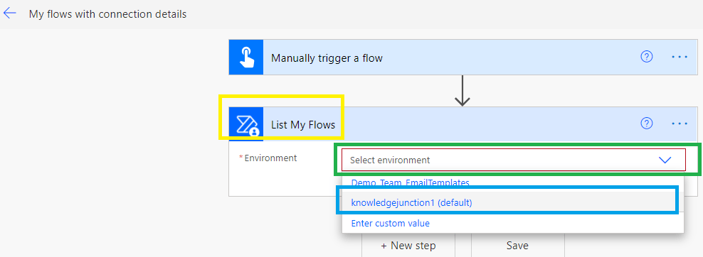 """PowerAutomate  - action """"List My Flows - Selecting the environment"""