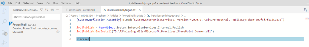 PowerShell script to install assembly in GAC on Windows server 2019