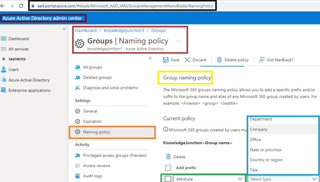 fig : Microsoft Teams - setting naming policy based on user attributes - but limited options - only OOB user properties are there