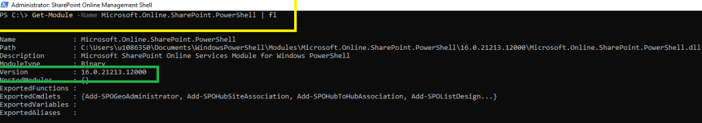 Fig : Microsoft 365 - Know the SharePoint Online PowerShell version