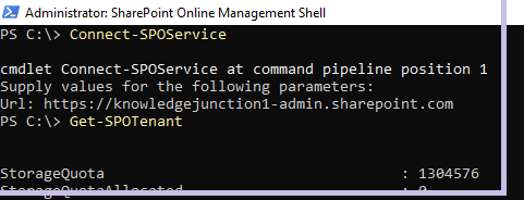 Fig : Microsoft 365 - Executing connecting to M365 and executing the CMDLET Get-SPOTenant