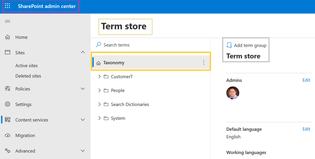 fig : Microsoft 365 - SharePoint Online - SharePoint admin center - Modern Term store manager page