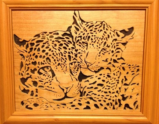 Cut using an EX16 Scroll Saw out of 6mm Baltic Birch ply with a black ply backer, and framed (Wayne G)
