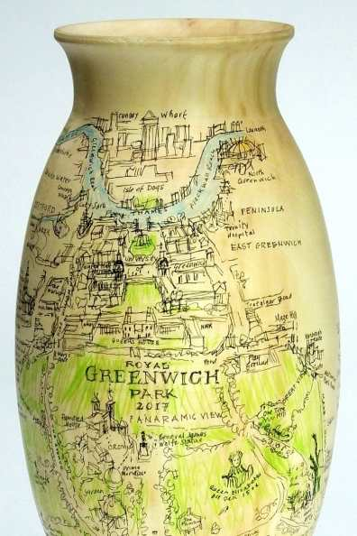Lot 35: Michael Maisey - Vase with Greenwich Park and Greenwich Peninsula illustrations by Peter Kent (Horse Chestnut)