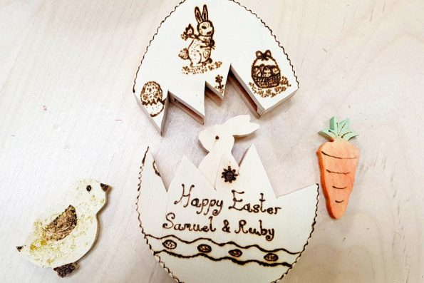 Easter themed projects made using scroll saws and pyrography