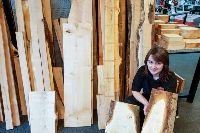 Lydia with a range of timber