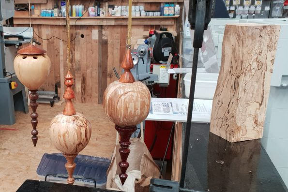 Turning Tuesdays are open. Here is some of Malcolm Cleavers lathe turned decorations