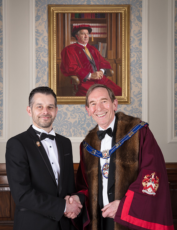 Darran McLeod and Master of the Furniture Makers' Company Dr Tony Smart MBE