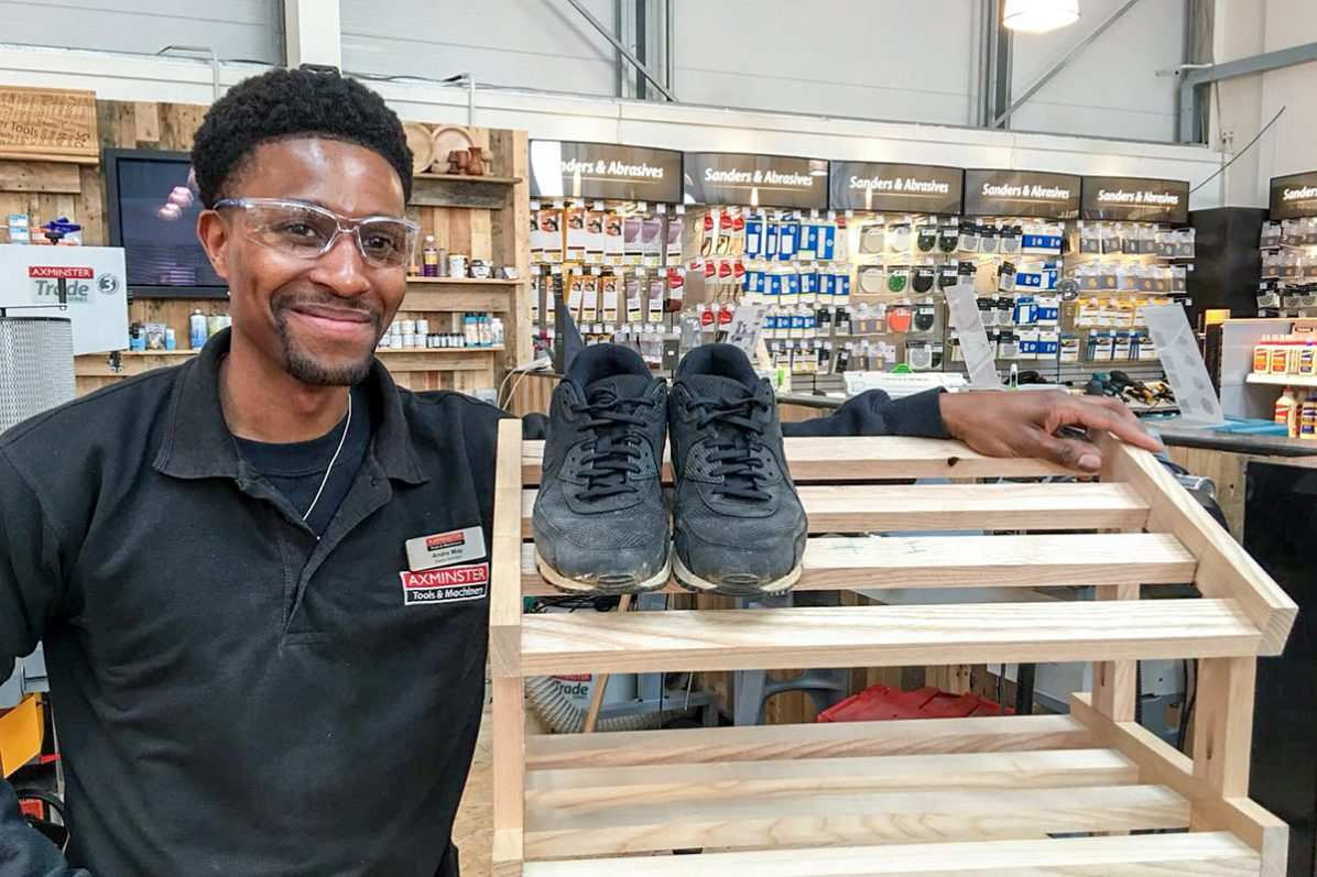 Andre made a shoe rack