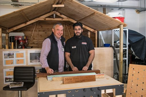 Peter Parfitt (left), with Talhah Rasool from our High Wycombe store, was showing how to transform the accuracy of your work with the Parf Guide System.