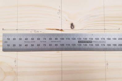 The 200mm mark on the centre 75mm line