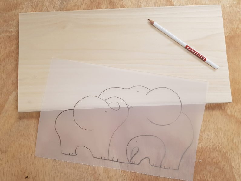 Elephant design on tracing paper