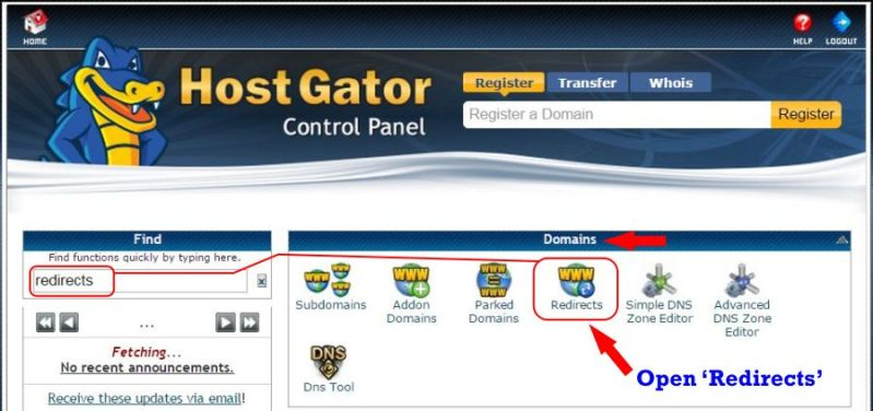 How To Redirect a Domain to Another Domain in cPanel step 1