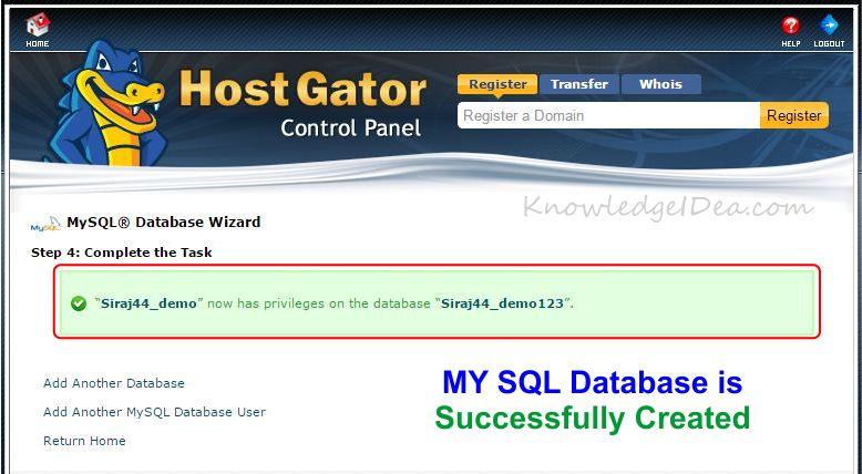 How to Create MYSQL Database Using cPanel step 5