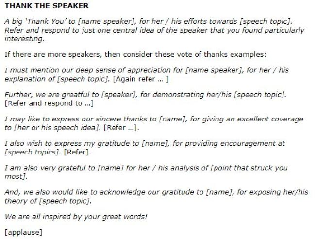 vote of thanks speech latest samples on vote of thanks basic rules