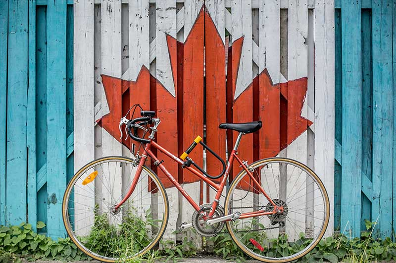 Bike against wall with Canadian flag