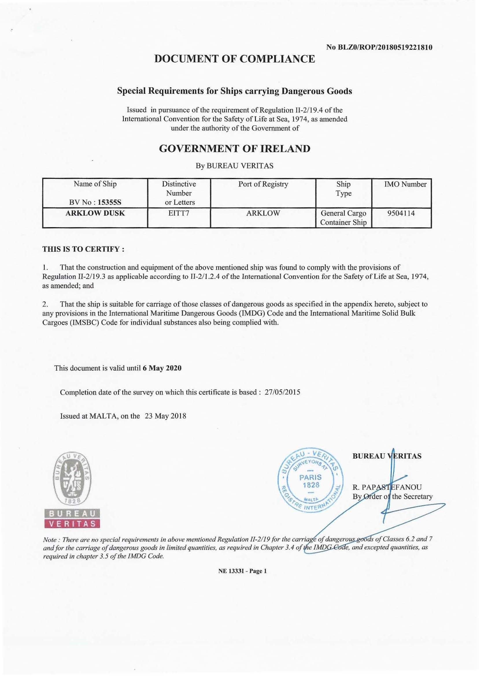 document of compliance for carrying dangerous goods