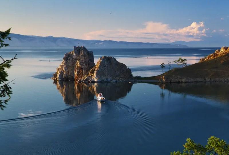 view of Cape Burhan and Shaman Rock on Olkhon Island at Baikal Lake, Russia, world's deepest lake
