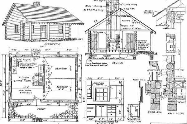 2 bedroom log cabin plans
