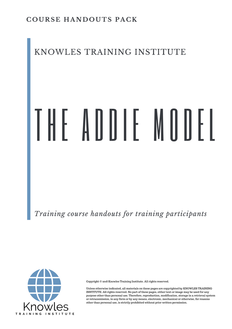 hight resolution of the addie model course handouts