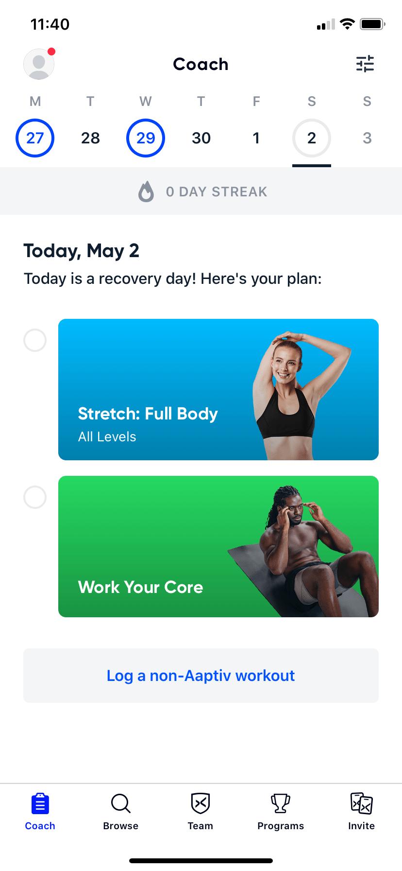 Aaptiv workout routine