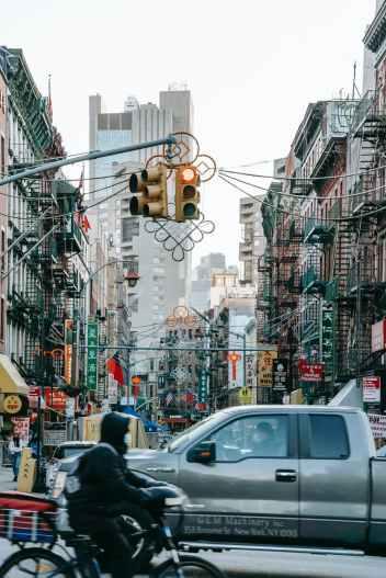 busy urban street in modern city