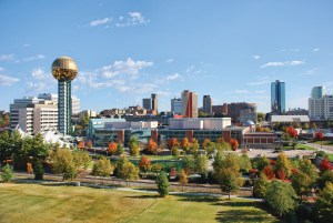 Distant shot of Knoxville downtown