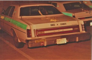 Old 1980's-ish image of two KCSO cruisers