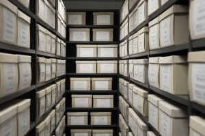 Evidence boxes stored on shelves