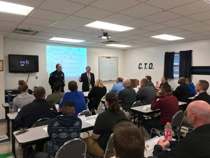 Sheriff and Chief Deputy instructing KCSO Corrections class