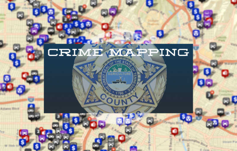 Digital map with pinpoints and KCSO badge