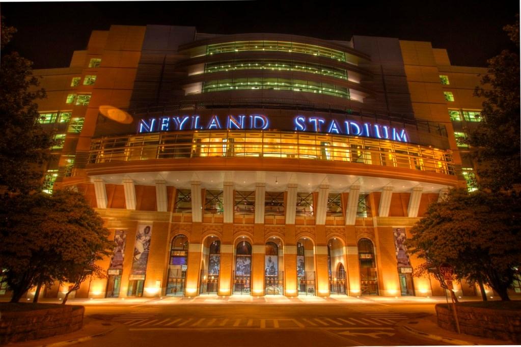 Entrance to Neyland Stadium at night