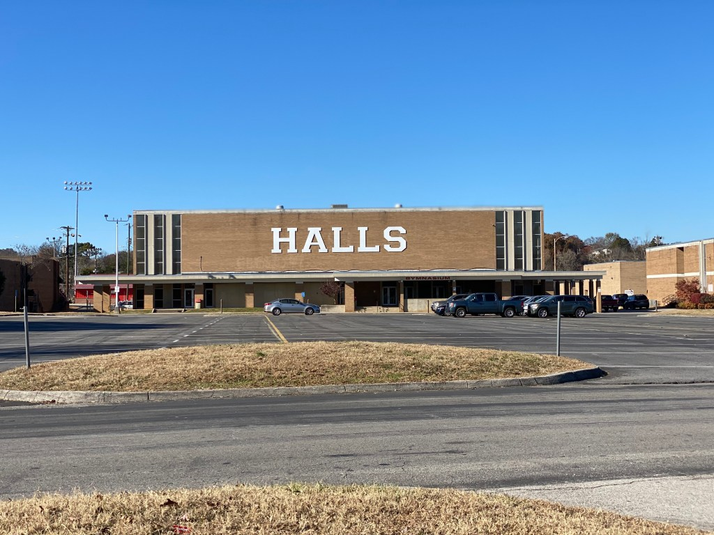 Entrance to Halls High School Gym