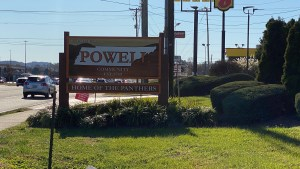Powell welcome sign