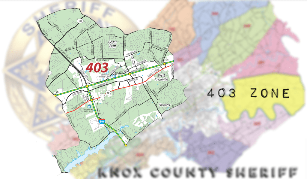 Close up map of Zone 403