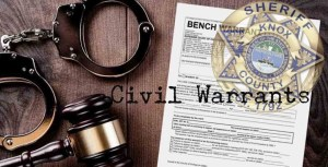 Handcuffs, gavel, and bench warrant on tabletop with Sheriff badge overlay