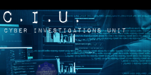 CIU Banner: Hooded individual hacking into computer