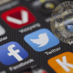 Social Media Icons with Sheriff's badge overlay