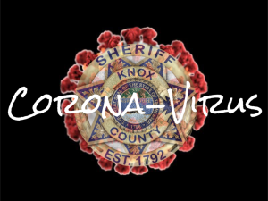 "KCSO badge on black background and red spread with ""corona-virus"""