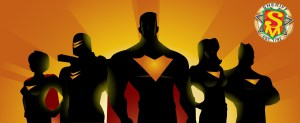 Shadow superheroes posing together with safetyman badge