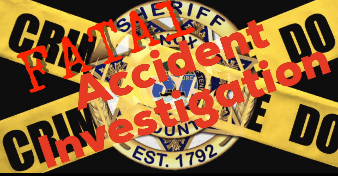 "Sheriff badge with crossing caution tape and ""Fatal accident investigation"""