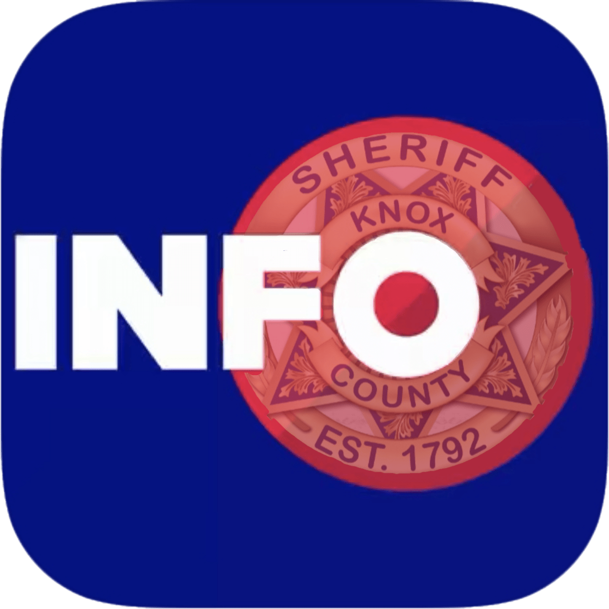 "KCSO badge on blue background with ""INFO"""
