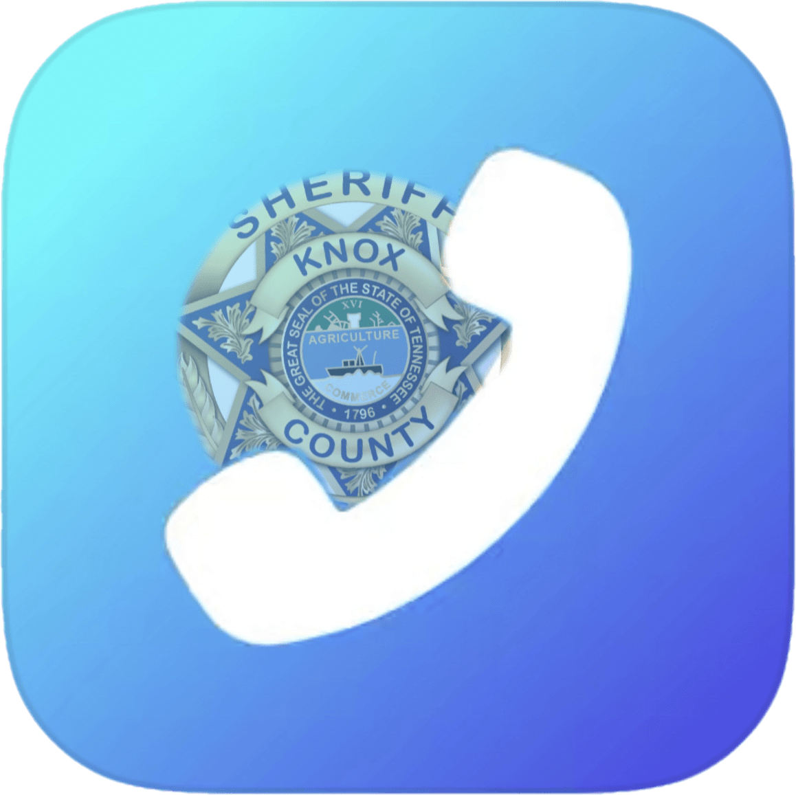 KCSO badge with phone clipart on blue background