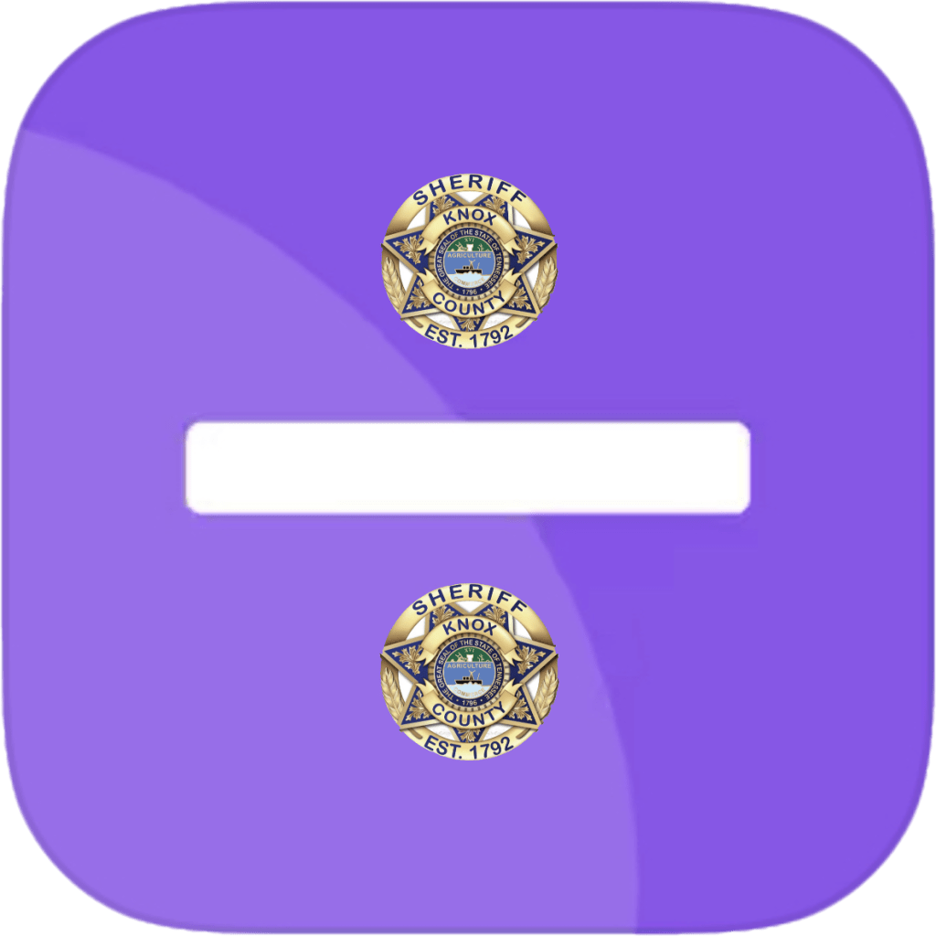 White line with KCSO badge above and below and purple background