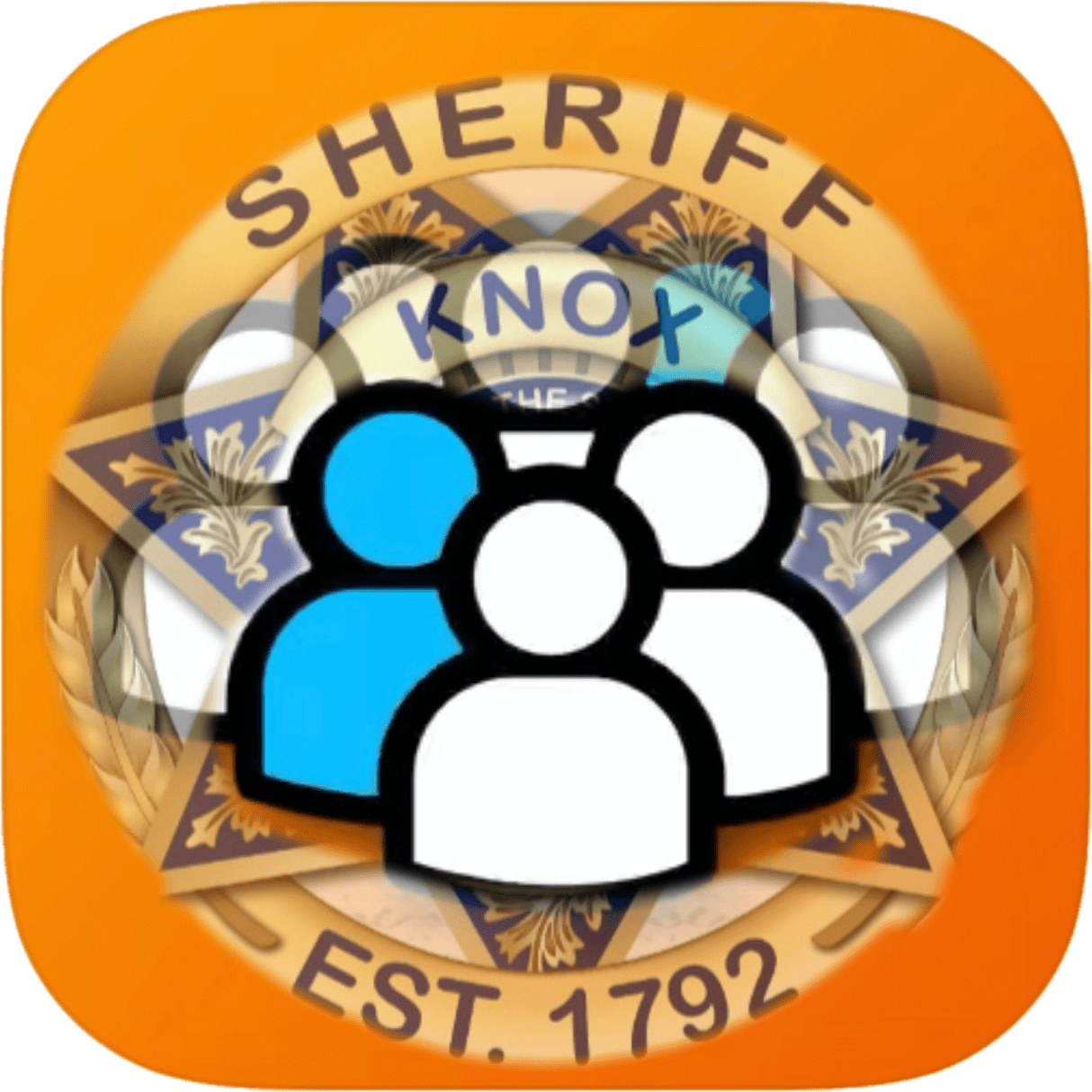 KCSO badge on orange backgreound with people figures clipart overlay