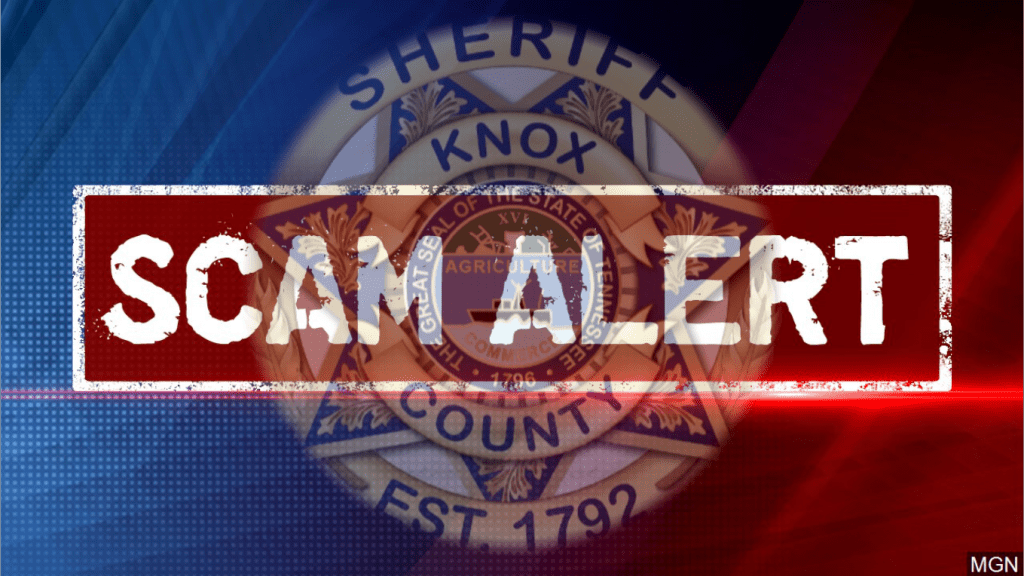 "KCSO Badge with ""Scam Alert"" overlay"