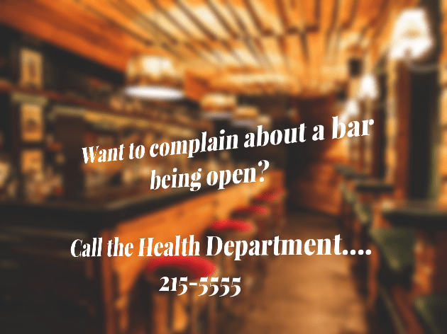 "Blurred image of bar with ""Want to complain about a bar being open? Call the Health Department.... 2155555"""