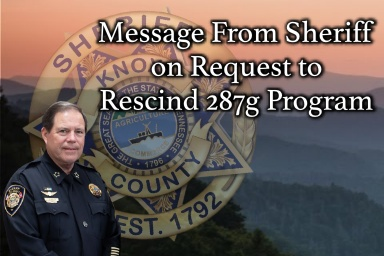 "Sheriff Spangler with Mountain Background, KCSO badge, and ""message"""