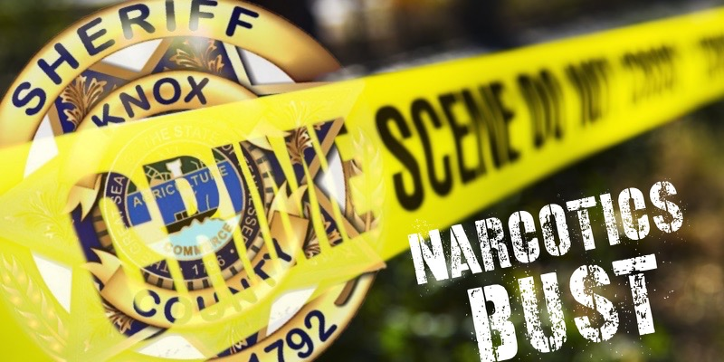 "KCSO badge, crime scene tape, and ""Narcotics Bust"""